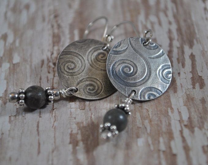 Petoskey stone earrings with sterling silver swirl circles, Up North, Lake Michigan