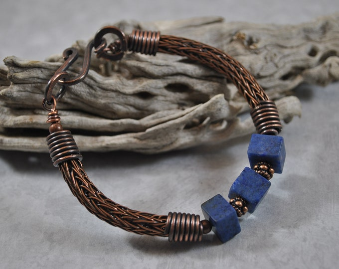 Copper Viking Knit bracelet, wire jewelry, handcrafted, blue Dumortierite gemstone