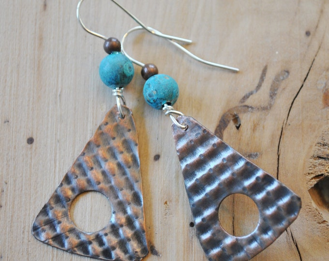 Copper and teal earrings, hammered metal earrings, rustic earrings, artisan earrings