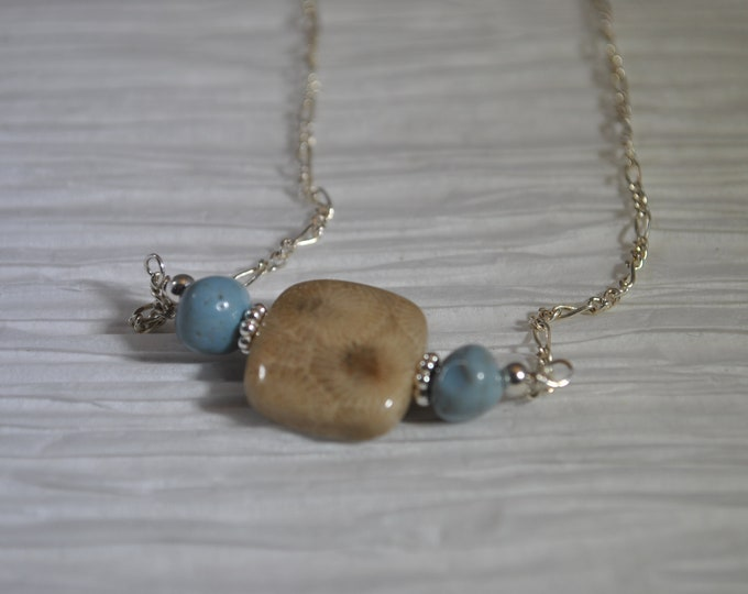 Delicate Petoskey Stone and Leland Blue Stone Necklace on Sterling Silver chain  simple, boho, minimalist