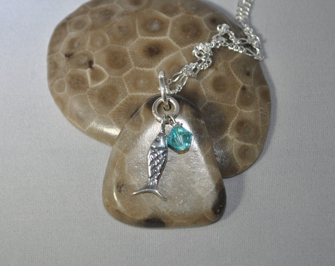 Petoskey Stone necklace with sterling fish charm, and blue crystal, Michigan necklace, Up North, Leland