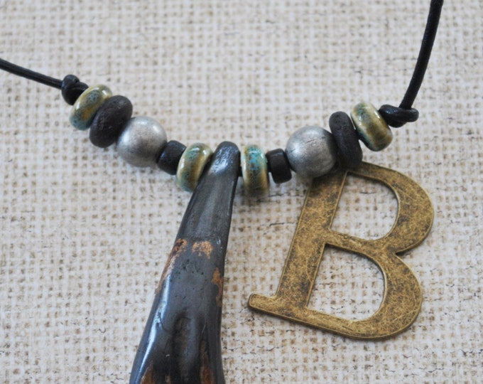 Men's Necklace of Tibetan Yak tooth with teal ceramic beads on black leather cord , minimalist