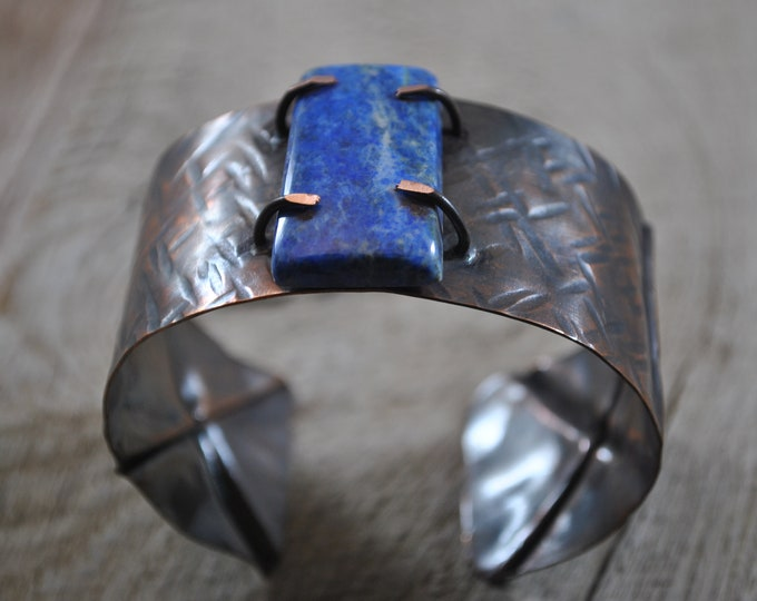 Blue Sodalite stone copper cuff,  rustic copper bracelet, metal work, boho, unisex