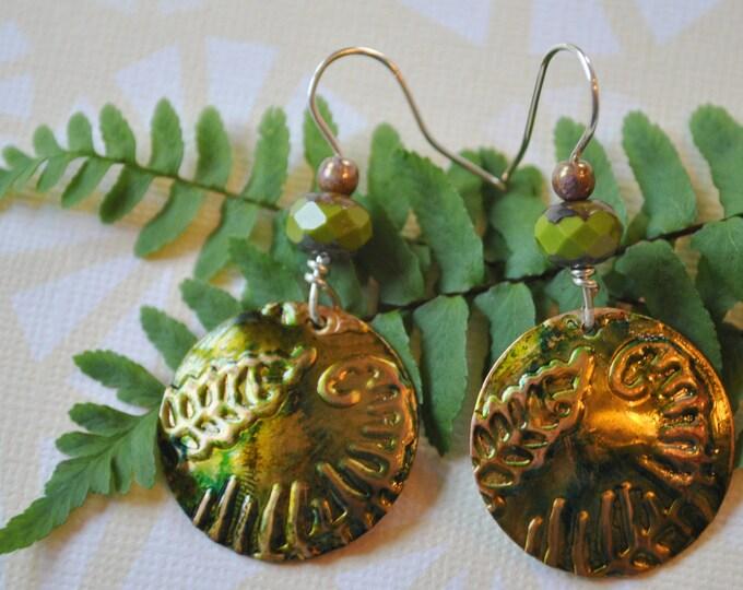 Green fern embossed copper earrings with chartreuse Czech glass beads, metal earrings, rustic earrings, artisan earrings