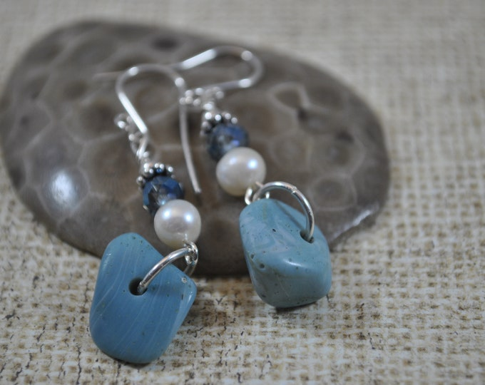 Lake Michigan Leland Blue stone nugget earrings with crystals, pearls, and sterling silver