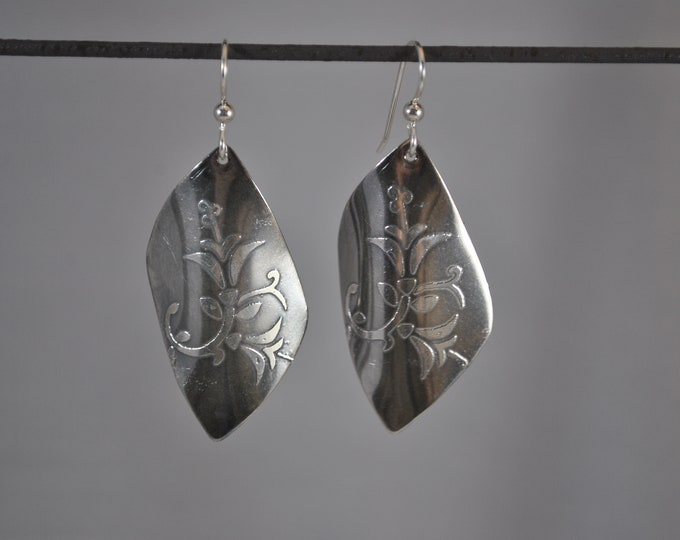 Sterling silver earrings,  electro-etched, handcrafted, floral