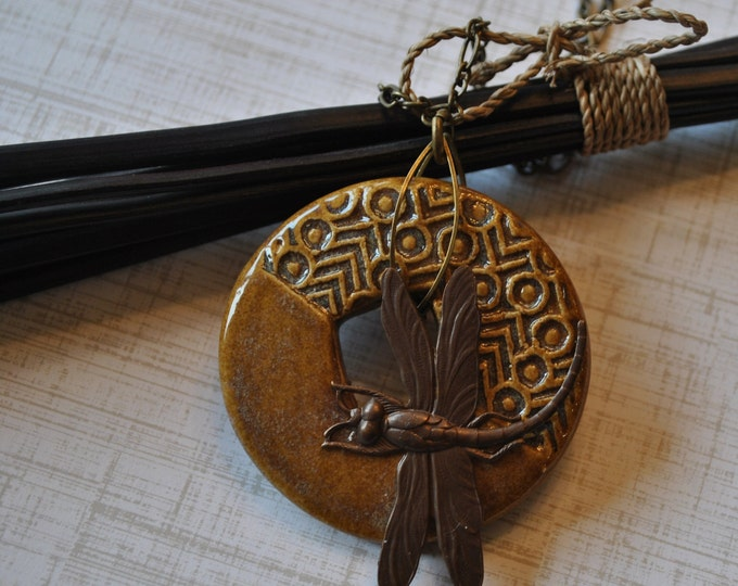 Brown Statement necklace with ceramic pendant, brass dragonfly and brass chain