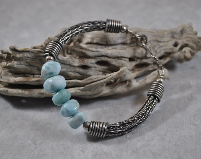 Sterling silver Viking Knit and Larimar bracelet, wire jewelry, handcrafted, unisex