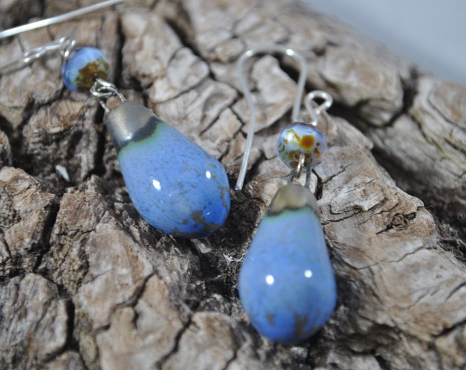 Periwinkle Blue ceramic earrings with crystals, handcrafted jewelry, Boho