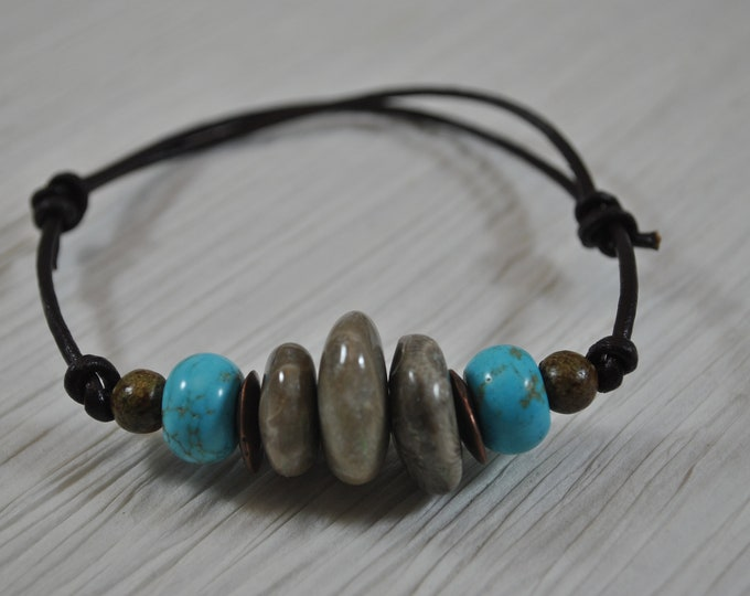 Petoskey Stone Bracelet on leather with turquoise (Howlite) stone beads, Up North, bracelet, Michigan, adjustable