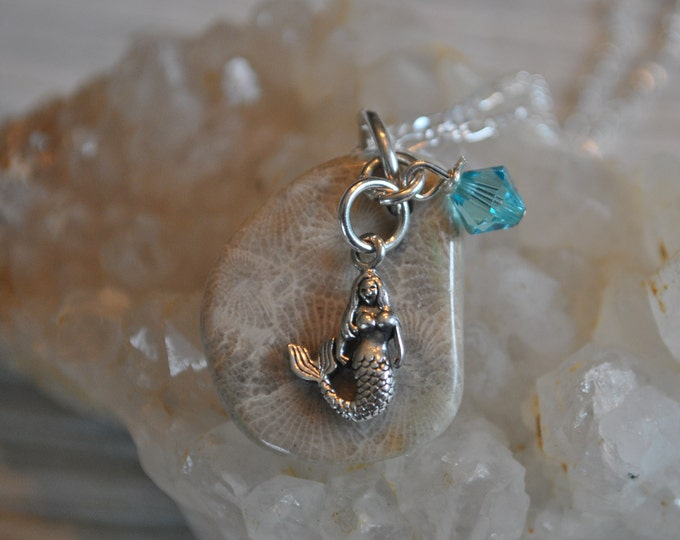 Petoskey Stone necklace with sterling mermaid charm and blue crystal, Michigan necklace, Up North