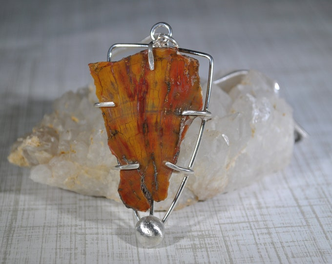 Petrified Wood pendant necklace, minimalist, sterling silver, Arizona stone, colorful