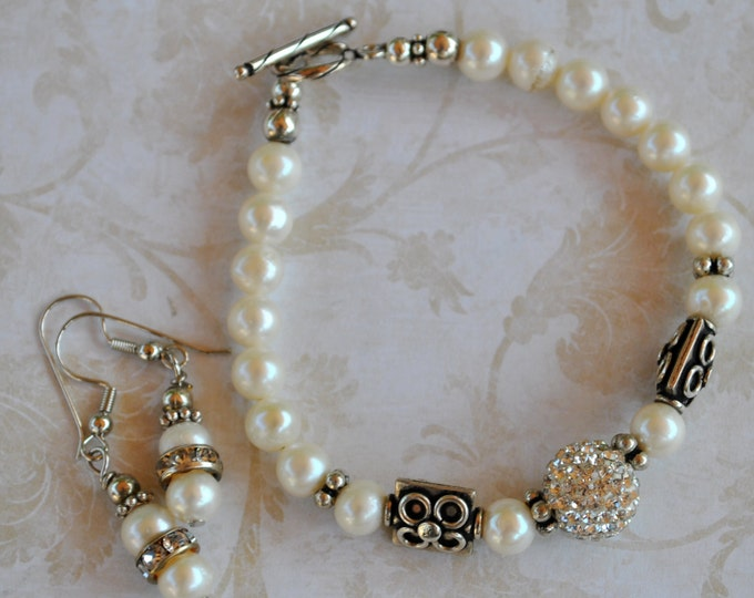 Pearl, crystal pave and sterling silver, sparkly bracelet set, handcrafted bracelet, wedding bracelet