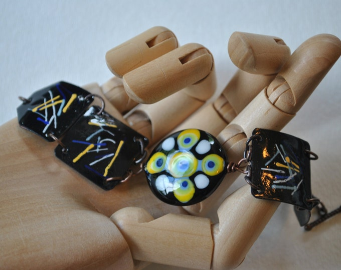 Black and yellow enameled copper bracelet.  rustic bracelet, metal work, boho, colorful, funky bracelet