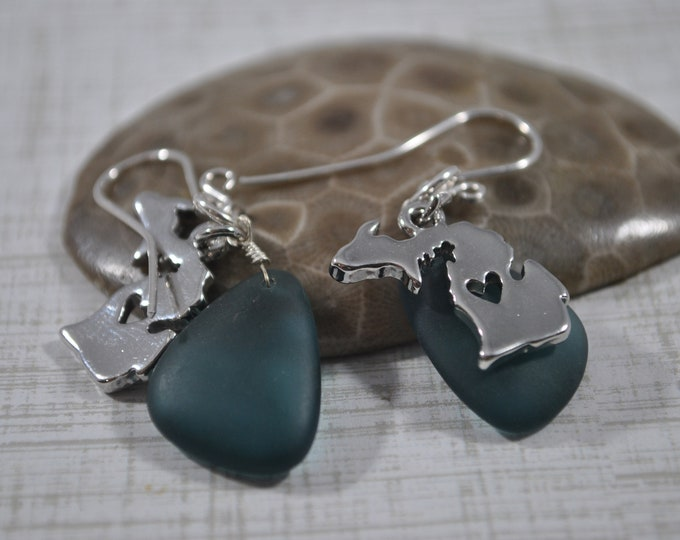 Michigan charm and beach glass earrings, Up North Michigan, Lake Michigan, blue sea glass earrings,