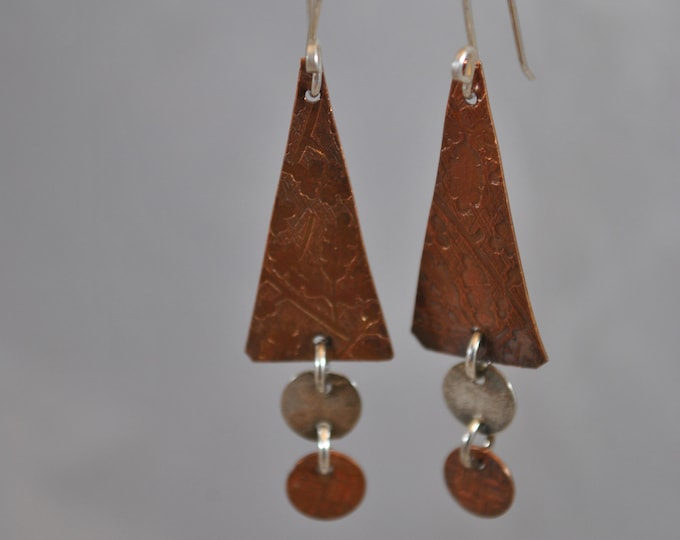 Copper and sterling silver dangling earrings, textured metal earrings, rustic earrings, artisan earrings