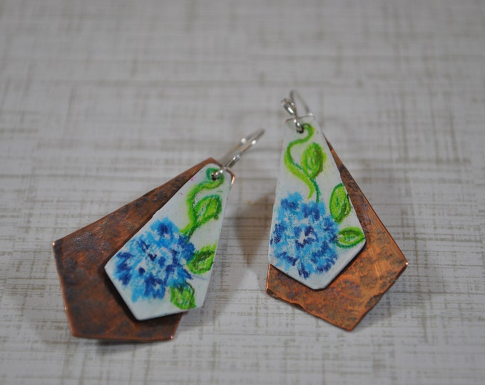 Copper blue flower dangling earrings, textured metal earrings, colored pencil earrings, artisan earrings
