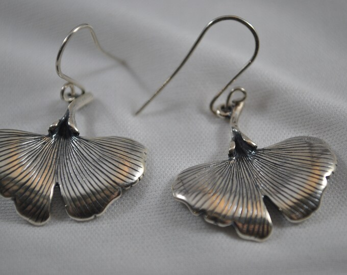 Sterling silver ginkgo earrings, leaf earrings