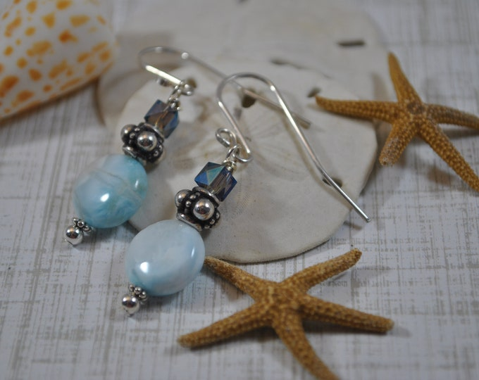 Larimar gemstone earrings, Bali sterling silver, blue and white, handcrafted