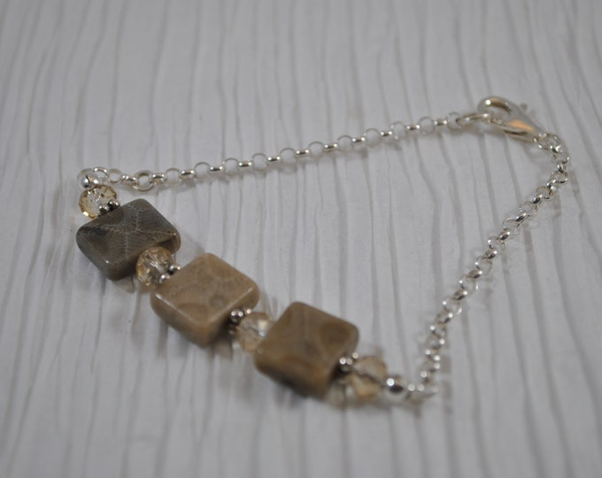Petoskey Stone Bracelet with sterling silver chain , Up North Michigan bracelet, fossil bracelet