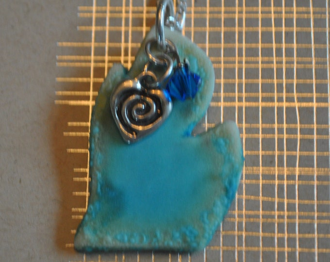 Michigan ceramic pendant with blue crystal and sterling spiral heart charm, Michigan necklace, Up North, ceramic