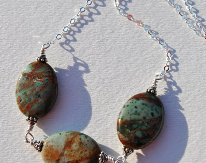 Three green opal stones wire wrapped on Sterling Silver chain necklace  boho, minimalist, simple