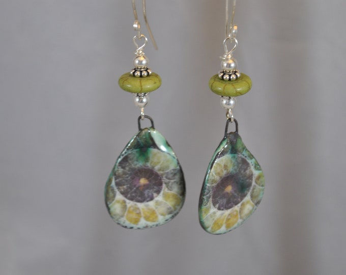 Lime green Ammonite ceramic earrings with stones and sterling silver beads,, handcrafted jewelry, Boho