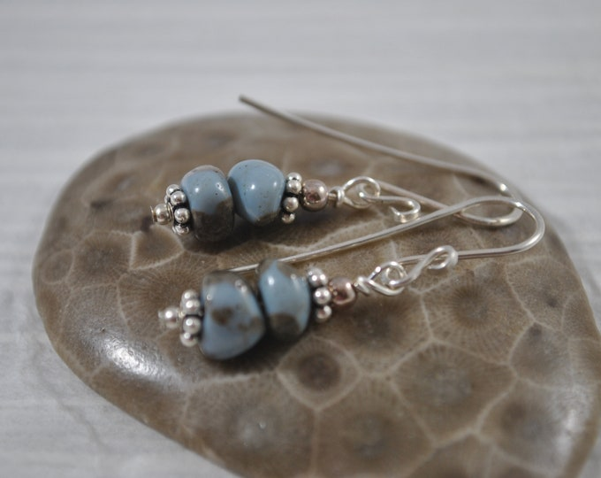 Lake Michigan Leland Blue stone nugget earrings with sterling silver