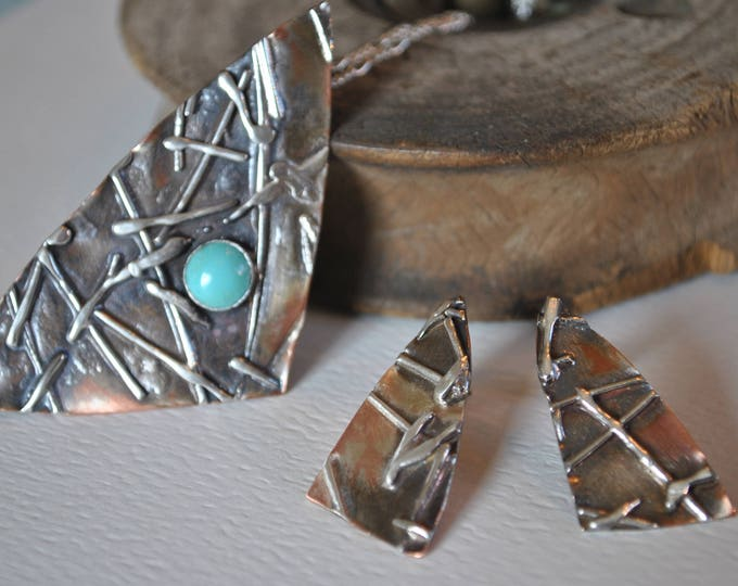 Turquoise gemstone and textured sterling silver and copper pendant and earrings, organic, rustic jewelry