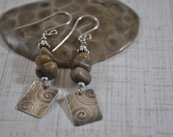 Petoskey stone earrings with sterling silver swirl squares, Up North, Lake Michigan