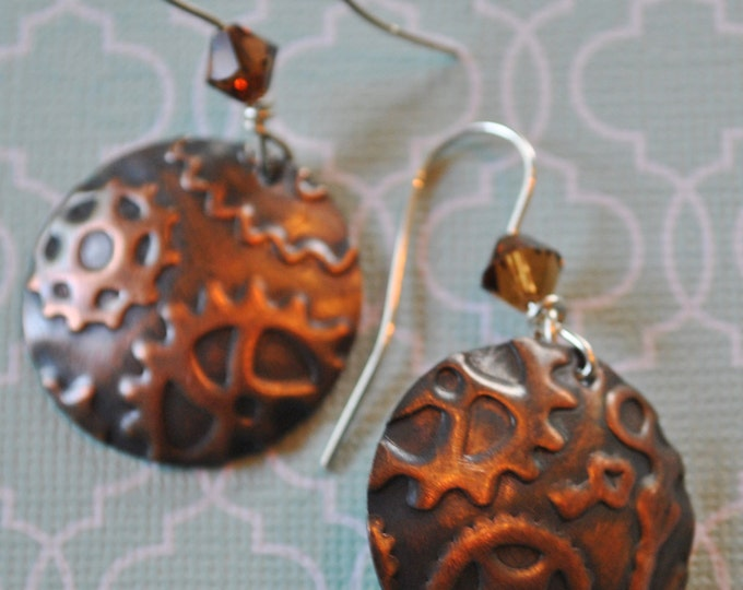 Steampunk copper earrings with brown Swarovski crystals, metal earrings, rustic earrings, artisan earrings