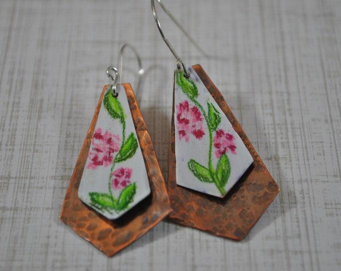 Copper flower dangling earrings, textured metal earrings, colored pencil earrings, artisan earrings