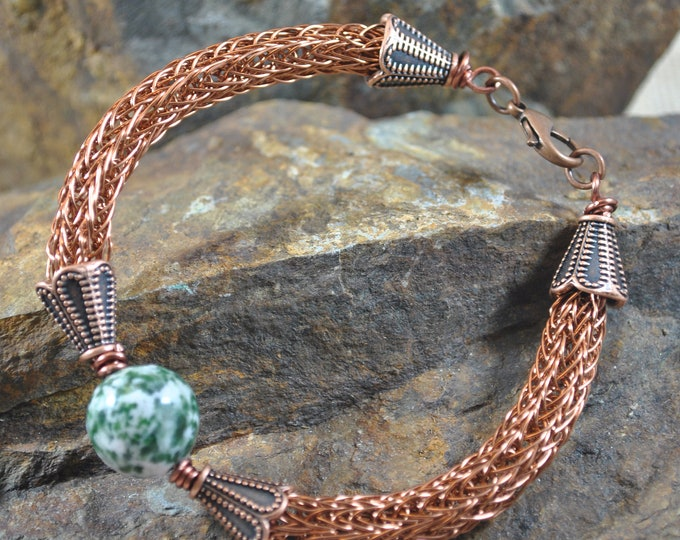 Antiqued Copper Viking Knit bracelet, wire jewelry, handcrafted, Tree Agate
