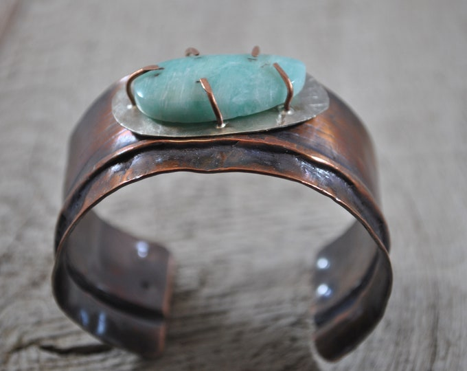 Blue Aragonite stone copper cuff,  rustic copper bracelet, metal work, boho, gemstone
