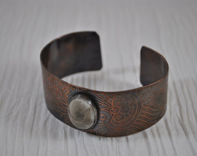 Petoskey stone copper cuff,  rustic copper bracelet, metal work, boho, unisex