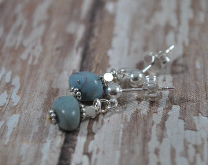 Leland blue stone earrings, Up North Michigan, Lake Michigan, sterling post earrings