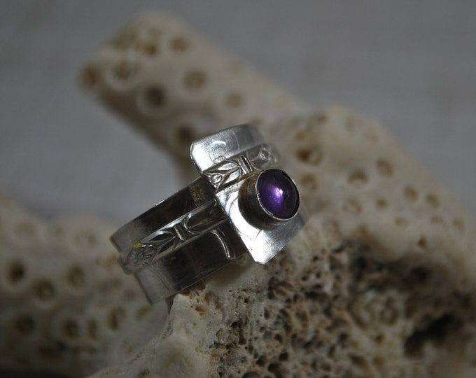 Sterling silver and purple Amethyst adjustable ring, textured metal, boho, wide band, subtle texture, sterling jewelry, handcrafted