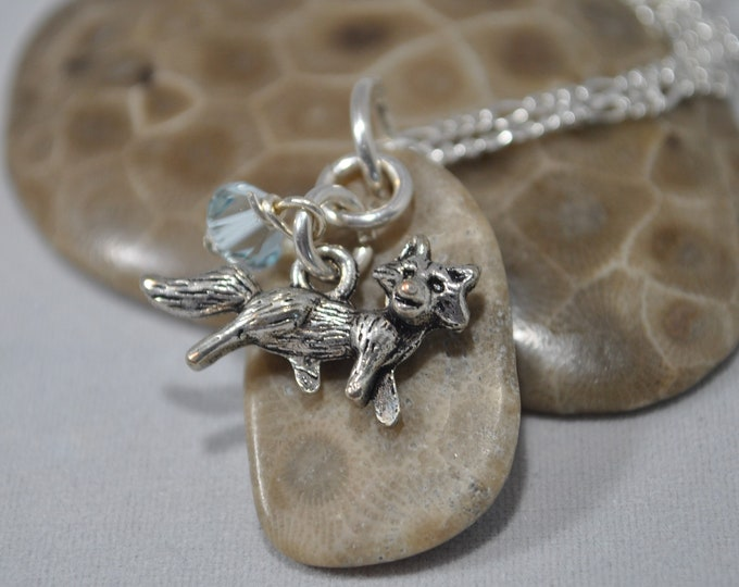 Petoskey Stone necklace with fox charm, ice blue crystal , Michigan necklace, Up North