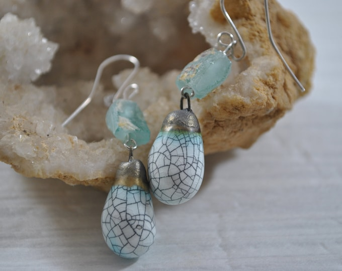 Crackle ceramic earrings with ancient Roman glass, handcrafted jewelry, Boho