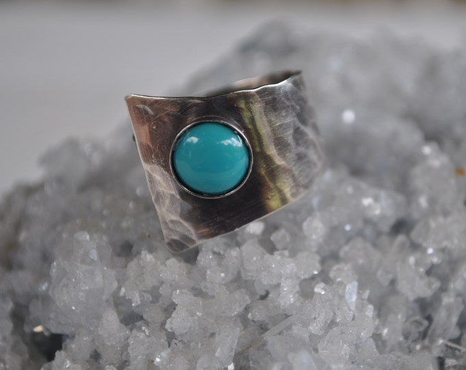 Sterling silver and turquoise adjustable ring, textured metal, boho, wide band, hammered design, sterling jewelry, handcrafted