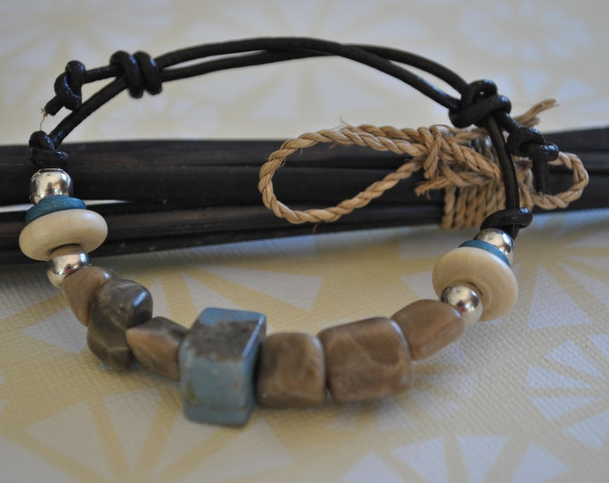 Petoskey Stone and Leland Blue Bracelet on leather with sterling silver beads, Up North, bracelet, Michigan