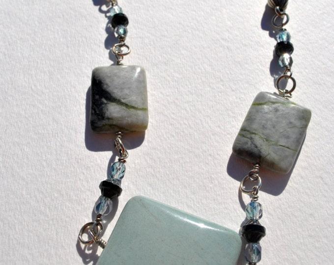 Seafoam green necklace set, Ocean jasper necklace set, soft green blue necklace set