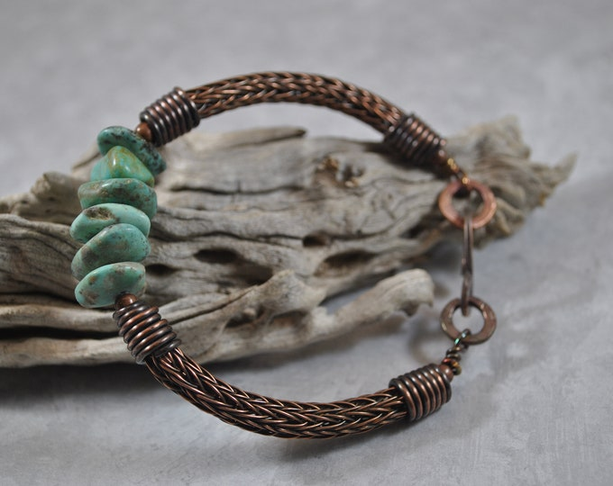 Copper Viking Knit and Turquoise bracelet, wire jewelry, handcrafted, unisex