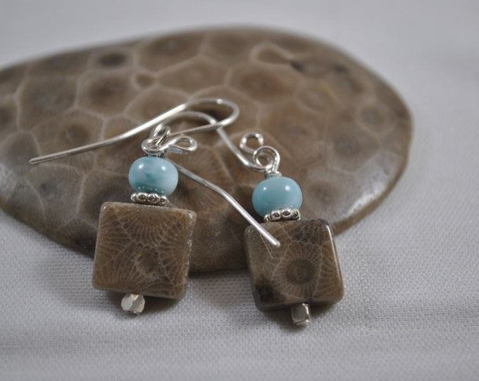 Petoskey stone and Larimar stone earrings with sterling silver beads, Up North earrings, Lake Michigan earrings