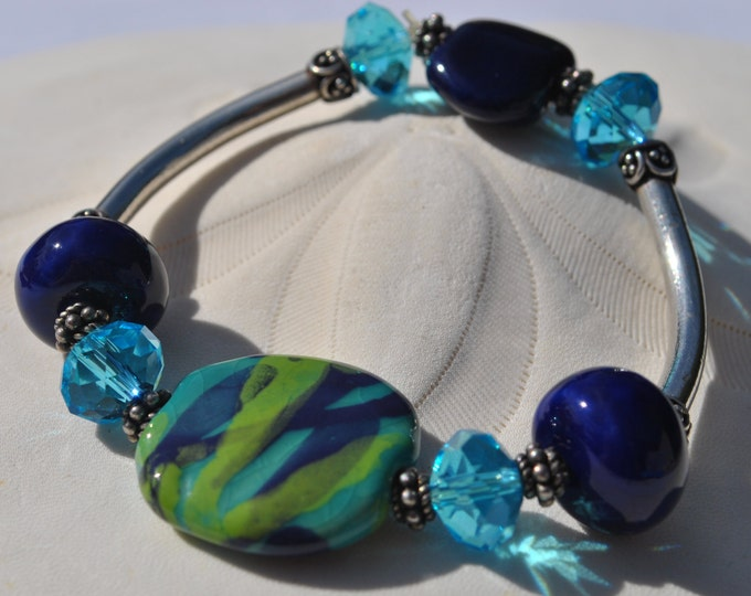 Vibrant Teal and Navy Blue African Kazuri Ceramic, crystal and sterling silver bracelet
