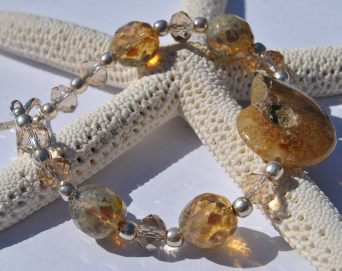 Fossil Ammonite Stone Bracelet with honey color crystals, Czech glass and sterling silver