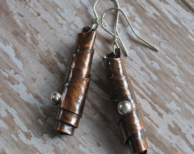 Copper rolled dangling earrings, textured metal earrings, rustic earrings, artisan earrings