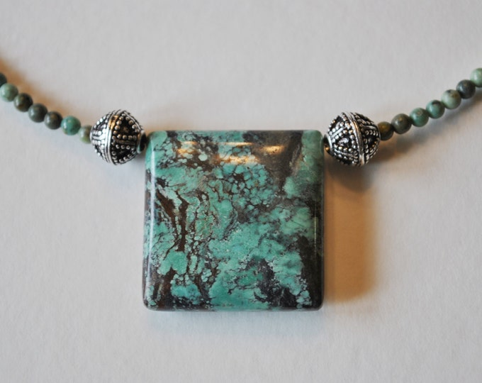 African Blue Green Turquoise Stone necklace, Turquoise natural stone necklace
