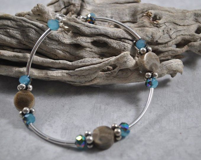 Petoskey Stone bracelet with blue crystals and sterling silver beads, Up North Michigan bracelet, fossil bracelet