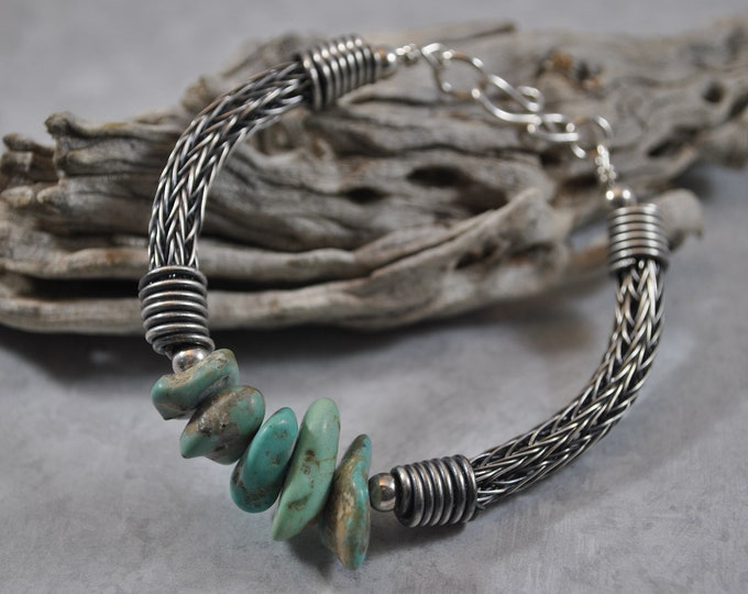 Sterling silver Viking Knit and Turquoise bracelet, wire jewelry, handcrafted, unisex